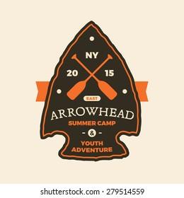 Summer camp arrowhead sign emblem logo graphic