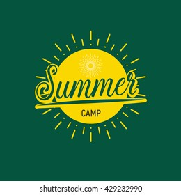 Summer Camp badge label lettering,vector illustration