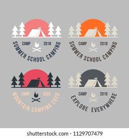 Summer camp badge logo vector illustration.