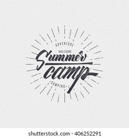 Summer camp badge, sticker, stamp, for your summer design