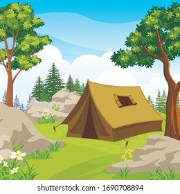 Summer camp banner. with Camping tent on green hill, beautiful scenery natural landscape, Pine forest and rocky mountains background