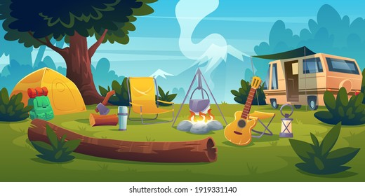 Summer camp with bonfire, tent, van, backpack, chair and guitar. Vector cartoon landscape with mountain, forest and campsite. Equipment for travel, hiking and activity vacation