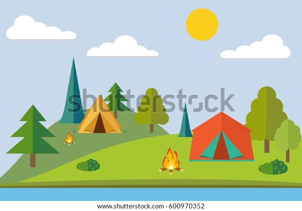 Summer camp. Camping in the forest. Camping tent. Flat style illustration.