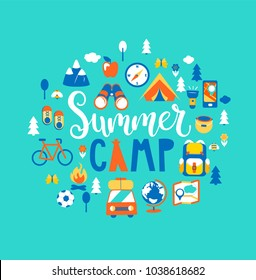 Summer camp concept with handdrawn lettering, Camping and Travelling on holiday with a lot of camping equipment such as tent, backpack and others. Poster in flat style, vector illustration.