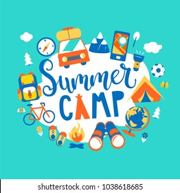 Summer camp concept with handdrawn lettering, Camping and Travelling on holiday with different equipment such as tent, backpack and others. Poster in flat style, vector illustration.