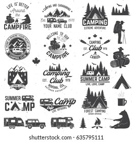 Summer camp with design elements. Vector illustration. Camping and outdoor adventure emblems.  Vintage typography design with rv trailer, camping tent, man with guitar and forest silhouette.
