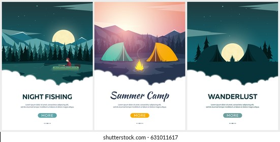 Summer camp. Evening Camp, Pine forest and rocky mountains. Sunset in the mountains. Climbing, Trekking, Hiking, Walking. Campfire Nature landscape