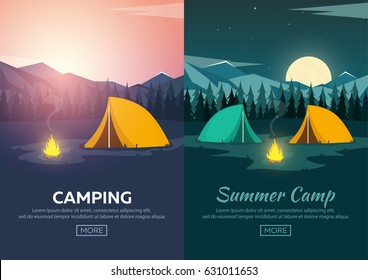 Summer camp. Evening Camp, Pine forest and rocky mountains. Sunset in the mountains. Climbing, Trekking, Hiking, Walking. Campfire. Nature landscape