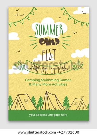 summer camp fest template banner flyer のベクター画像素材