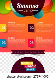 Summer camp flyer, poster, magazine cover template Vector eps 10