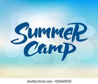 Summer camp hand drawn brush lettering. Summer camping label, vector illustration