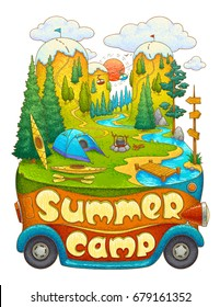 Summer camp. Holiday camping. Outdoor recreation. Active travel. Amazing vector illustration.