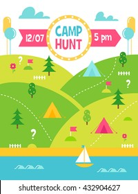 Summer Camp Hunt, Quest and Outdoor Activities Vector Poster