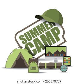 Summer camp icon with computer, notebook, backpack and tent. EPS 10 vector royalty free stock illustration for ad, promotion, poster, flier, blog, article, social media, marketing