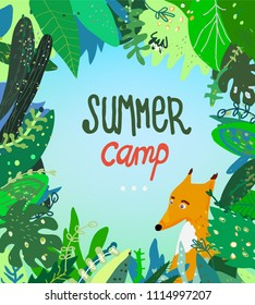 Summer camp illustration with nature background and fox, vector graphic