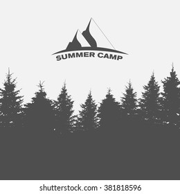 Summer Camp. Image of Nature. Tree Silhouette. Vector Illustration