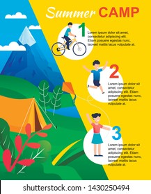 Summer Camp Infographic with Actions List for Kid. Rules, Schedule, Opportunities for Children. Summer Vacation and Rest. Funs and Activities. Vector Flat Illustration. Cartoon Tent on Mountain Valley