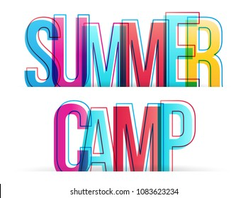 Summer camp. Isolated vector illustration word