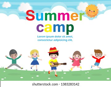 summer camp kids education concept Template for advertising brochure, activities on camping poster your text ,Vector Illustration