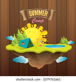 summer camp kids logo concept illustration with green valley, mountains, trees, sun, clouds, camp fire, camping tent and blue lake. Vector summer camp logo or flyer illustration.