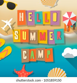 Summer Camp for kids poster, summer child's outdoor activities on the beach happy childhood, vector illustration.