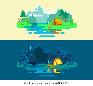 Summer Camp. Landscape with Yellow Tent, Campfire, Forest, Lake, Deer and Mountains on the Background. Sport, Camping  Adventures, Vacation, and Tourism. Vector Illustration
