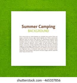 Summer Camp Paper Template. Vector Illustration of Paper over Camping Outline Design.