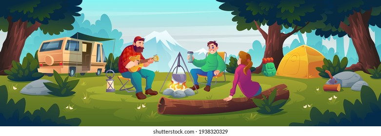 Summer camp with people sitting near bonfire