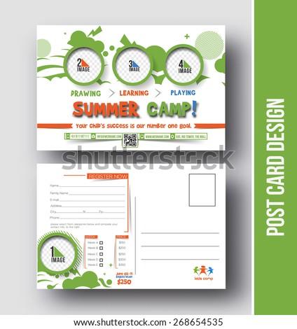 Summer camp postcard design vector template stock vector royalty summer camp postcard design vector template for opening invitation maxwellsz
