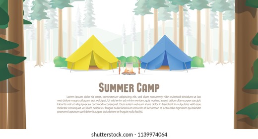 Summer Camp Poster or banner that the yellow & blue camp is middle in the forest with trees on foreground