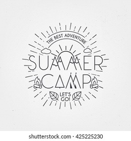 Summer Camp poster. Traveling template  poster , vector illustration.  party poster with leaf.