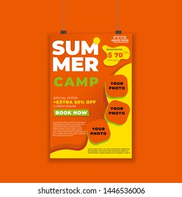 summer camp promotional poster or flayer design layout conceptual with beach panorama