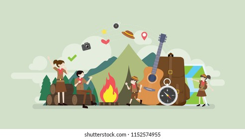 Summer Camp Scout Children Camping Tiny People Character Concept Vector Illustration, Suitable For Wallpaper, Banner, Background, Card, Book Illustration, And Web Landing Page