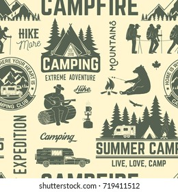 Summer camp seamless pattern or background. Vector illustration. Retro  typography design with rv trailer, tent, mountain, campfire, hiker and forest silhouette. For camping and hiking organizations