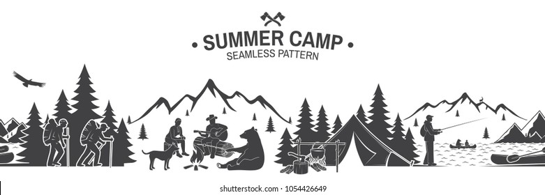 Summer camp seamless pattern. Vector illustration. Outdoor adventure background for wallpaper or wrapper. Seamless scene with mountains, bear, dog, girl, man with guitar sitting around campfire.