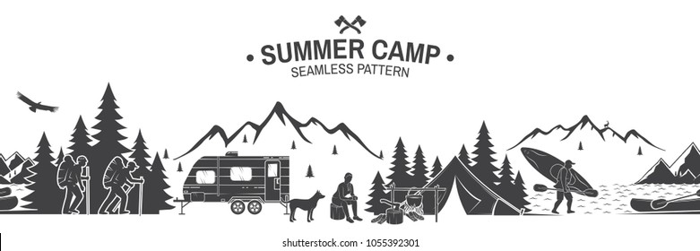 Summer camp seamless pattern. Vector illustration. Outdoor adventure background for wallpaper or wrapper. Seamless scene with mountains, hikers, dog, girl, man with canoe, campfire and river.
