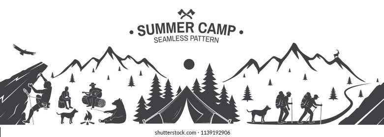 Summer camp seamless pattern. Vector illustration. Outdoor adventure background for wallpaper or wrapper. Seamless scene with mountains, hikers, dog, girl, man with guitar, campfire and climber.