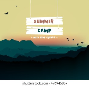 Summer camp, themed camp and vacation poster illustration