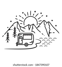 Summer Camp trailer, van, RV, lake holiday lineart design