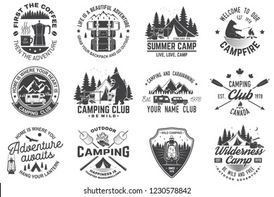 Summer camp. Vector. Concept for shirt or patch, print, stamp or tee. Vintage typography design with rv trailer, camping tent, campfire, bear, coffee maker  and forest silhouette.