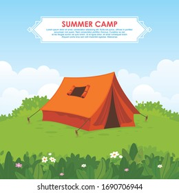 Summer camp vector illustration, with Camping tent on green hill, and beautiful scenery natural landscape