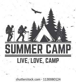 Summer camp. Vector illustration. Concept for shirt or logo, print, stamp or tee. Vintage typography design with hikers, camping tent and forest silhouette.