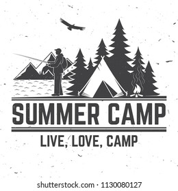 Summer camp. Vector illustration. Concept for shirt or logo, print, stamp or tee. Vintage typography design fisherman, camping tent, campfire and forest silhouette.