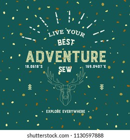 Summer camp. Vector illustration. Concept for shirt or logo, print, stamp or tee. Vintage typography design with canoe, paddle, camping tent and forest silhouette.