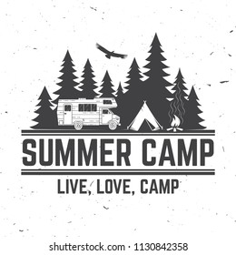 Summer camp. Vector illustration. Concept for shirt or logo, print, stamp or tee. Vintage typography design with rv trailer, camping tent and forest silhouette.