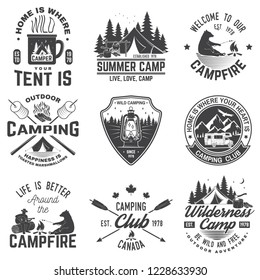 Summer camp. Vector illustration. Concept for shirt or patch, print, stamp or tee. Vintage typography design with rv trailer, camping tent, campfire, bear, man with guitar and forest silhouette.