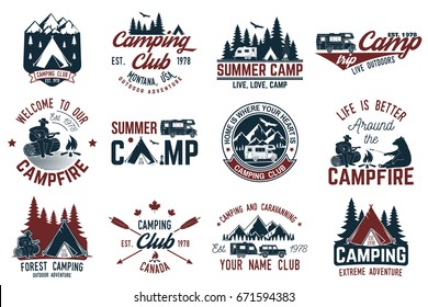 Summer camp. Vector illustration. Concept for shirt or logo, print, stamp or tee. Vintage typography design with rv trailer, camping tent, campfire, bear, man with guitar and forest silhouette.