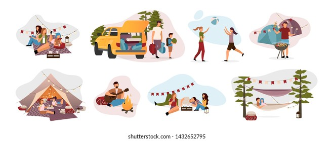 Summer camp visitors flat vector illustrations set. Holidaymakers isolated cartoon characters. Travelers, hikers resting in tent, hammock with campfire. Summertime relax, recreation, countryside trip
