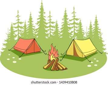 Summer camp. Wild nature landscape with bonfire and camping tents. Outdoor recreation and tourism. Vector illustration