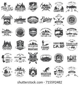 Summer camp,fishing, alpine and hiking club. Vector illustration. Set of vintage badges, labels, logos, silhouettes. Vintage typography collection with 36 items. Outdoors adventure emblems.